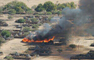 Villages in Darfur, overwhelmingly those of African tribal groups, are again being destroyed by the thousands (photograph by Brian Steidle, 2005)